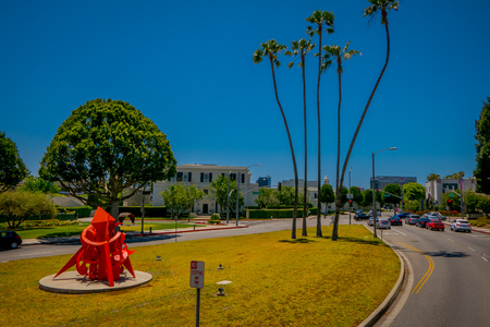 Los Angeles, California, USA, AUGUST, 20, 2018: Outdoor view of cars in Beverly Hills at Civic Center on Rexford Dr