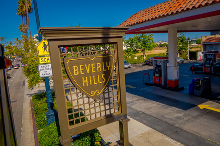 Los Angeles, California, USA, JUNE, 15, 2018: Close up of The Beverly Hills shield on Santa Monica Boulevard. These shields are located around city line of Beverly Hills