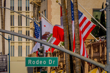 Los Angeles, California, USA, JUNE, 15, 2018: Close up of street sign for N.Rodeo Drive and Via Rodeo Drive in Beverly Hills, CA
