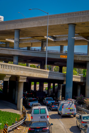 Los Angeles, California, USA, AUGUST, 20, 2018: Outdoor view of Los Angeles freeway ramps interchange in the San Fernando Valley Editorial