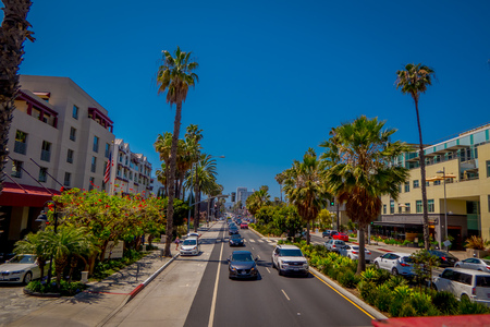 Los Angeles, California, USA, JUNE, 15, 2018: Outdoor view of cars in the traffic street in Santa monica avenue . The city is named after the Christian saint Monica Editorial
