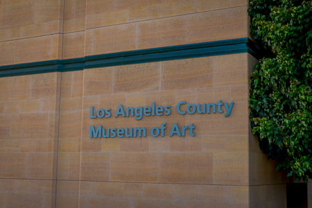 Los Angeles, California, USA, AUGUST, 20, 2018: Outdoor view of metalic words of George Page Museum in mid Wilshire district in the city of Los Angeles