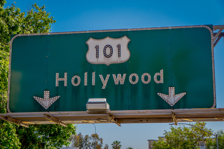 Los Angeles, California, USA, AUGUST, 20, 2018: Outdoor view of informative sign of Hollywood avenue with palm trees in Los Angeles, California