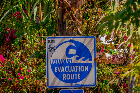 Los Angeles, California, USA, AUGUST, 20, 2018: Outdoor view of informative sign of evacuation route at Venice Beach, California warns that the area is a tsunami hazard zone
