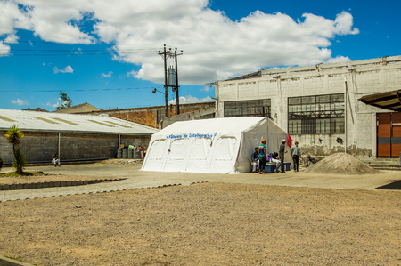 QUITO, ECUADOR, AUGUST 21, 2018: Outdoor view of refuge center located in the city of Quito, used for foreign people that arrived escaping from their countries