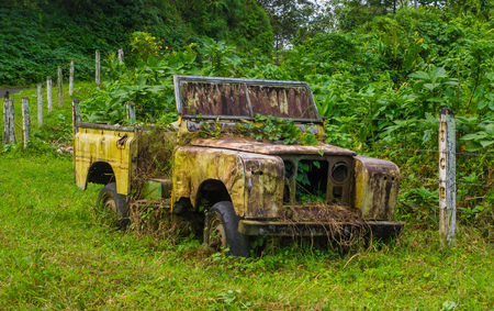 Abandoned old and rusted car decaying in the middle of the green rain forest in Volcan Arenal in Costa Rica.