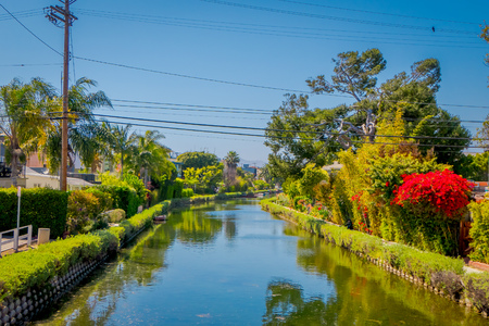 Beautiful view of old canals of Venice, build by Abbot Kinney in California, beautiful living area in Los Angeles USA.