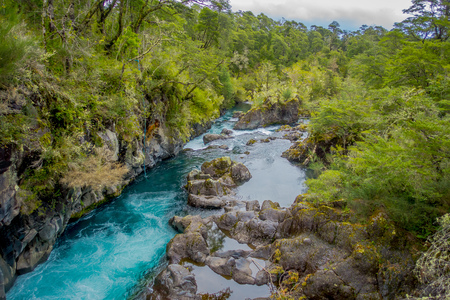 Petrohue River flowing through the mountain in Petrohue, Llanquihue Province, Los Lagos Region, Chile