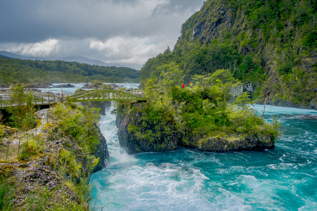 Beautiful view o turquoise water flowing in Petrohue River, Llanquihue Province, Los Lagos Region, Chile