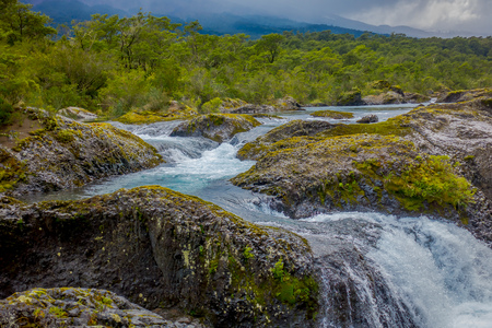 Saltos de Petrohue. Waterfalls in the south of Chile, formed by volcanic action Stock Photo
