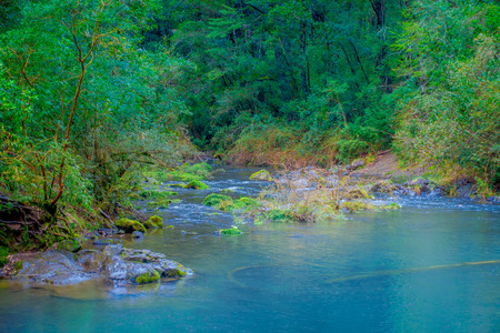 Beautiful outdoor view of gorgeous river of turquoise water located at Pucon, Chile Stock Photo