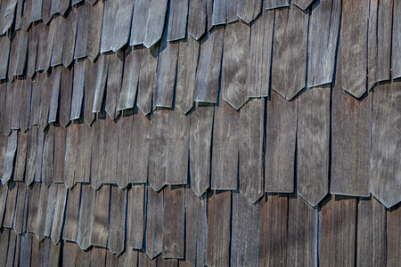 Close up of wooden exterior facade of church of Vilupulli, is a catholic temple in the locality of Vilupulli, in Chonchi, Chilo , south of Chile Stock Photo