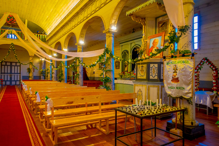 CHILOE, CHILE - SEPTEMBER, 27, 2018: Indoor view of church of Nercon, recognized as a World Heritage Site by Unesco
