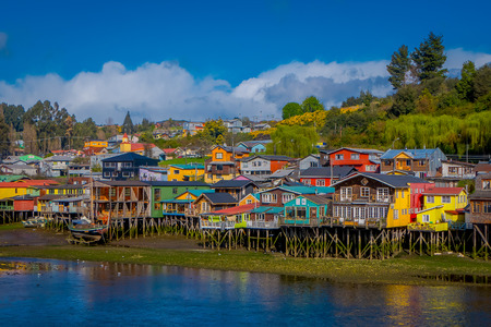 Houses on stilts palafitos in Castro, Chiloe Island, Patagonia 版權商用圖片