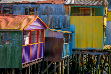 Houses on stilts palafitos in Castro, Chiloe Island, Patagonia Stock Photo