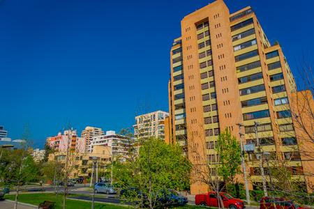 SANTIAGO, CHILE - OCTOBER 16, 2018: Outdoor view of financial district known as Nueva Las Condes in Rosario Norte Street, Las Condes, Santiago de Chile