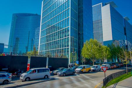SANTIAGO, CHILE - OCTOBER 16, 2018: Office buildings at financial district known as Nueva Las Condes in Rosario Norte Street, Las Condes, Santiago de Chile