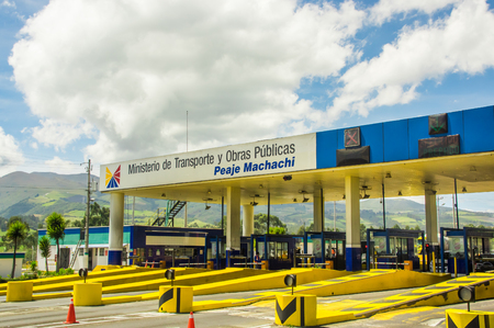 Latacunga, Ecuador September, 28, 2018: Outdoor view of area pay tolls on the toll road to enter at the city of Latacunga