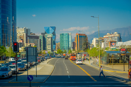 SANTIAGO, CHILE - OCTOBER 16, 2018: Gorgeous outdoor view of financial district with huge buildings known as Nueva Las Condes in Rosario street at las Condes, Santiago de Chile