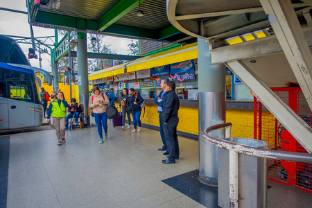 SANTIAGO, CHILE - OCTOBER 09, 2018: Unidentified people waiting inside of the terminal platforms at Alameda bus station. This is the largest and primary bus terminal of the city Éditoriale