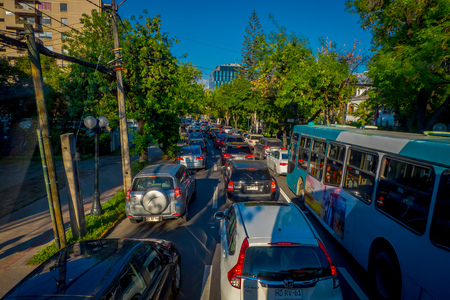 SANTIAGO DE CHILE, CHILE - OCTOBER 16, 2018: Intense traffic on the streets of the city in Santiago de Chile Editorial