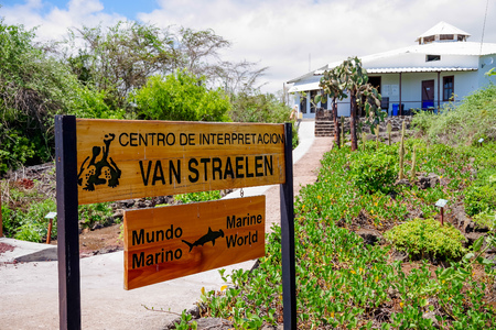 GALAPAGOS, ECUADOR, NOVEMBER 29, 2018: Van Straelen Research Station of Marine life located in Chareles Darwin station, founded in 1959, under the auspices of UNESCO and the World Conservation Union Redakční