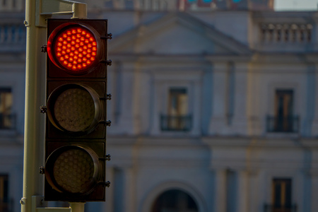 Outdoor view of red traffict light located in the streets of Santiago in Chile, South America Stock Photo