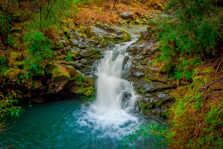 Beautiful outdoor view of waterfall at Pucon, Chile