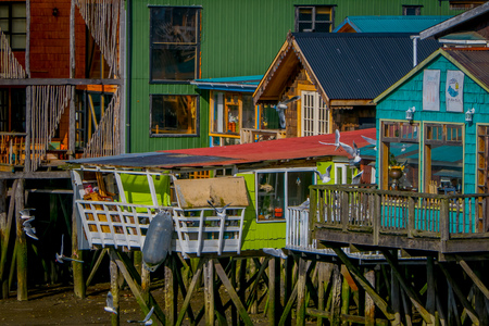 CHILOE, CHILE - SEPTEMBER, 27, 2018: Houses on stilts palafitos in Castro, Chiloe Island, Patagonia Éditoriale