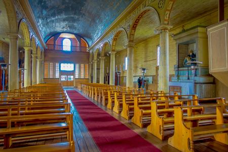 CHILOE, CHILE - SEPTEMBER, 27, 2018: Indoor view of church in Chonchi, Chiloe island in Chile. Nuestra Senora del Rosario 報道画像