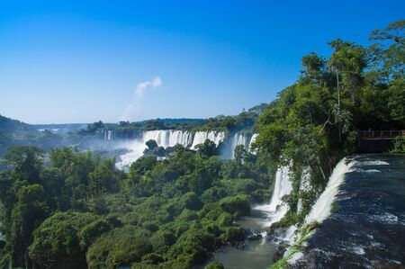 Beautiful aerial view of Iguazu Falls from the helicopter ride, one of the Seven Natural Wonders of the World , Brazil