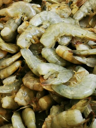 Top view of a close up of uncooked shrimp background Stok Fotoğraf