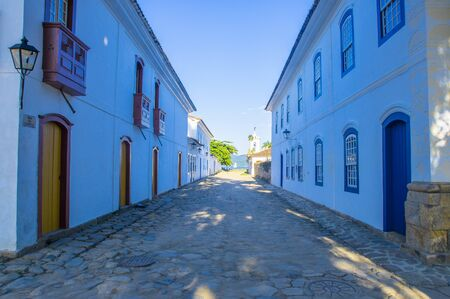 Street of historical center in Paraty, Rio de Janeiro, Brazil. Paraty is a preserved Portuguese colonial and Brazilian Imperial municipality Reklamní fotografie