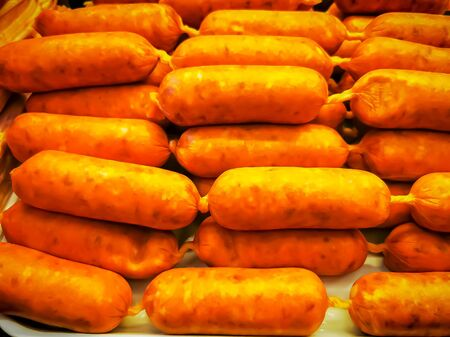 Traditional German sausages in a deli, close up shot
