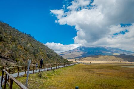Cotopaxi national park, Ecuador in a sunny and windy day
