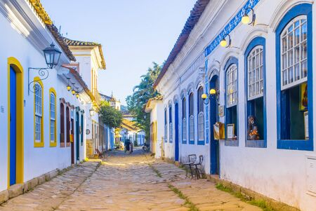 Street of historical center in Paraty, Rio de Janeiro, Brazil. Paraty is a preserved Portuguese colonial and Brazilian Imperial municipality. Reklamní fotografie