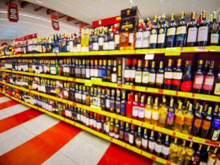 Convenience store shelves interior blur background , Blurred Supermarket shelves