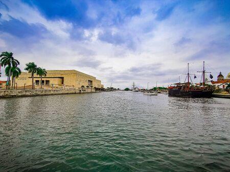 View of the Julio Cesar Turbay Ayala Cartagena de Indias Convention Center and the neighborhood, Cartagena Colombia 写真素材