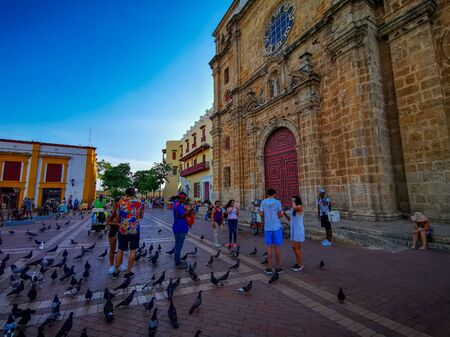 CARTAGENA, COLOMBIA - NOVEMBER 09, 2019: Colorful buildings in a street of the old city of Cartagena Cartagena de Indias in Colombia.