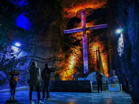 ZIPAQUIRA, COLOMBIA - NOVEMBER 12, 2019: Underground Salt Cathedral Zipaquira built within the multicolored tunnels from a salt mine 200 meters underground