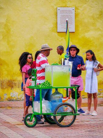 CARTAGENA, COLOMBIA - NOVEMBER 12, 2019: Street vendors in Unesco delared city centre, old town Editorial