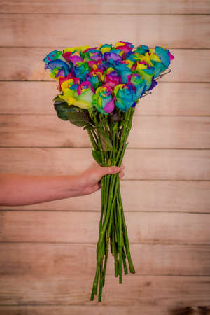 A bouquet of Tinted Rainbow roses variety, studio shot, multicolored flowers. High quality photo
