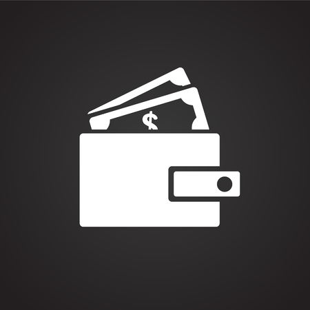 wallet with money on black background icon stock photo picture and royalty free image image 111078137 wallet with money on black background icon