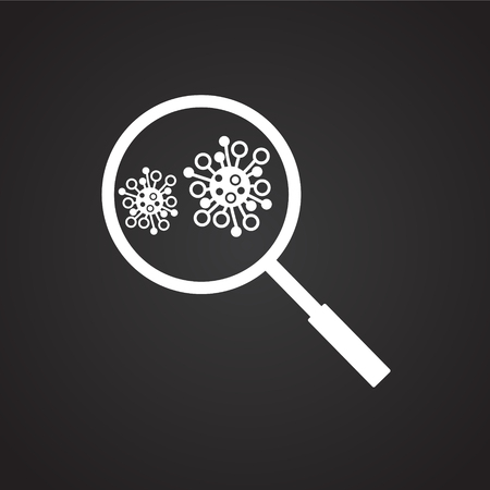 Microbiology loupe on black background icon