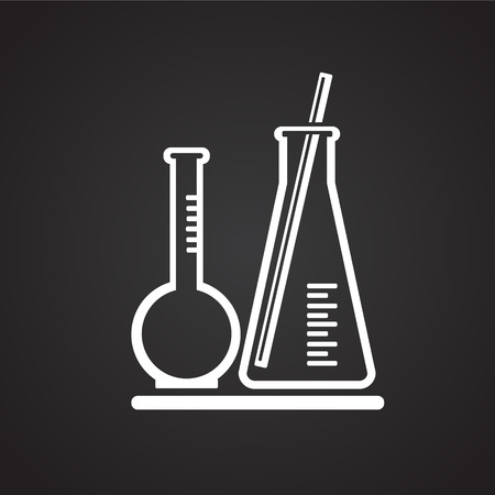 Chemistry flasks on black background icon