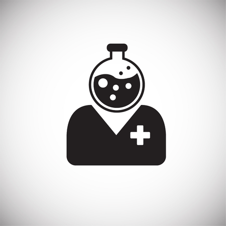 Medical personnel on white background icon