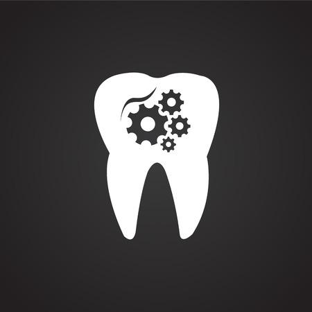 Stomatology on black background icon