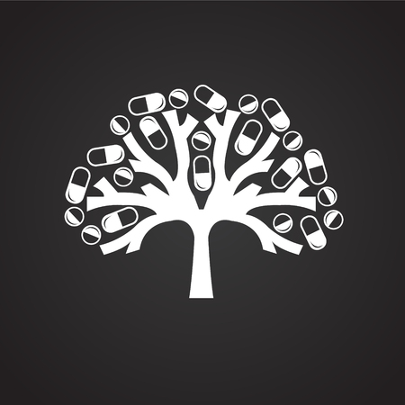 Tree with pills on black background icon Imagens