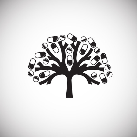 Tree with pills on white background icon Banco de Imagens
