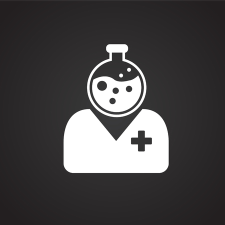 Medical personnel on black background icon